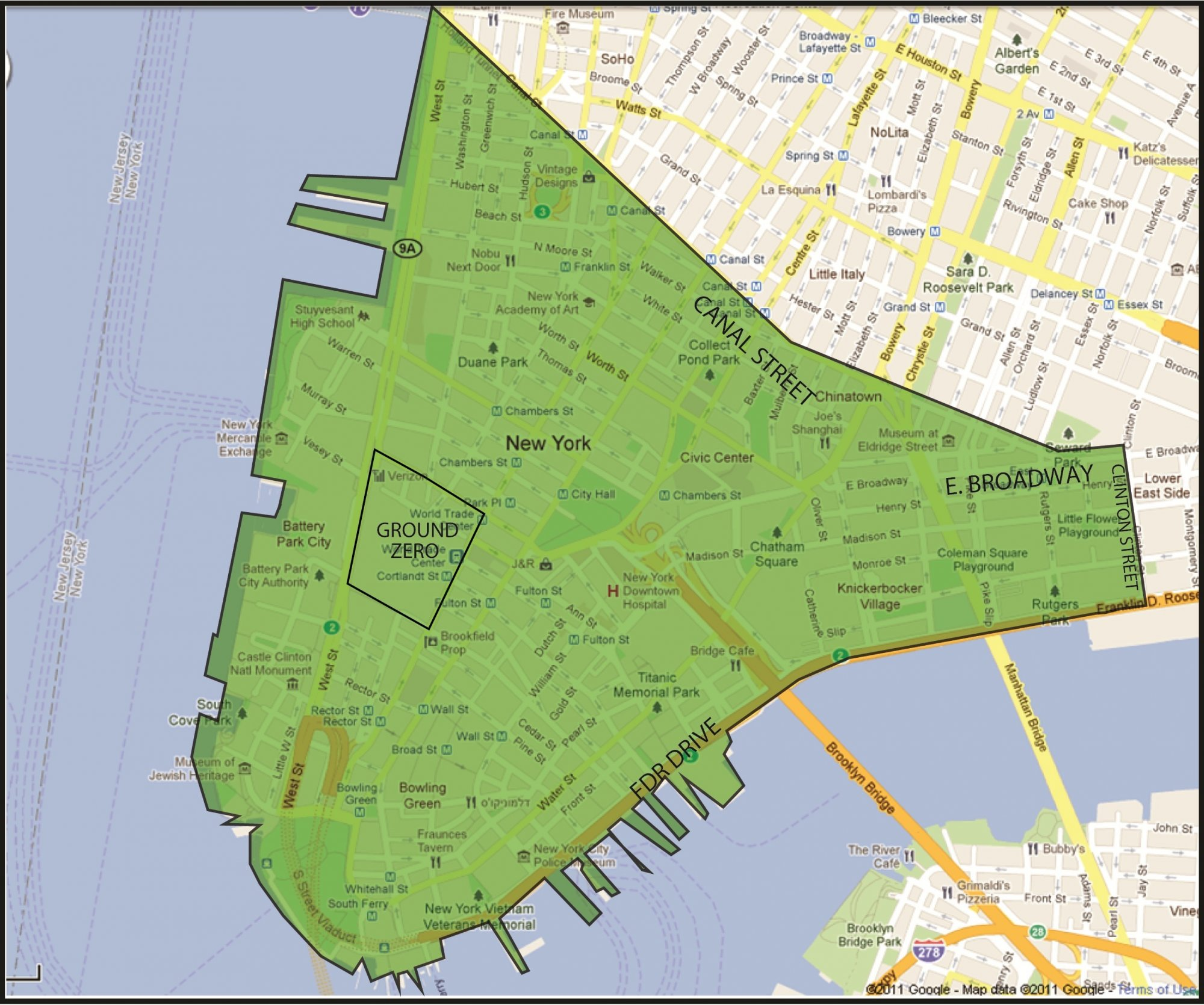 Map of 'Exposure Zone' in New York City from Sept. 11 Terrorist Attacks | Eisbrouch Marsh, LLC