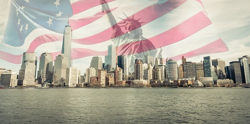 New York City skyline with American flag