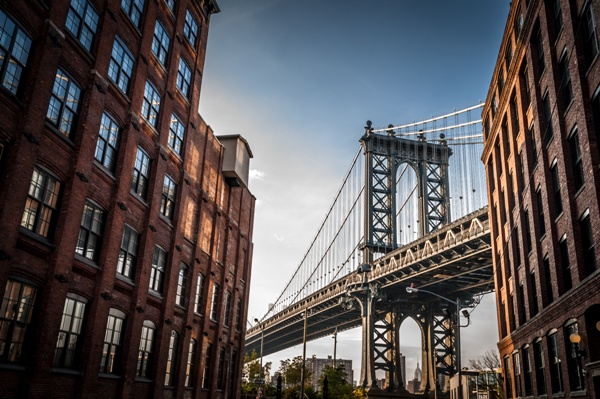 Bridge flanked by brick buildings | Commercial lease review and negotiation Manhattan