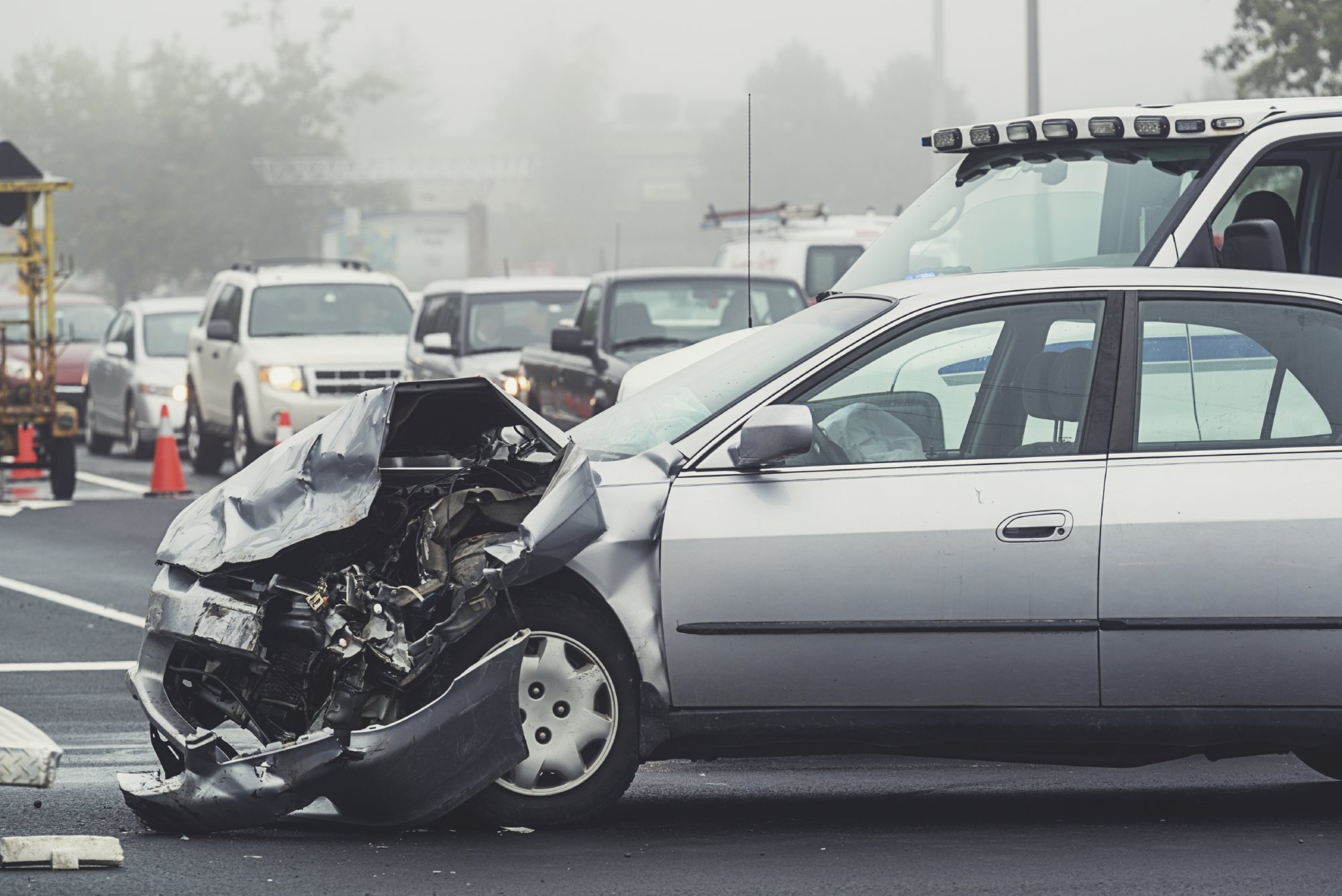 Front of car destroyed in accident | Eisbrouch Marsh can help if you were hurt in a wreck